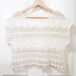 LF Millau Cream Floral Crochet Crop Top